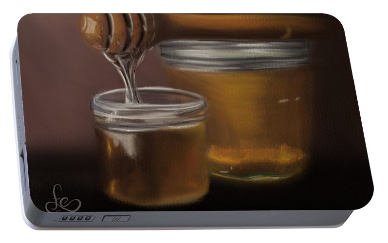 Portable Battery Charger featuring the painting Sweet Honey by Fe Jones
