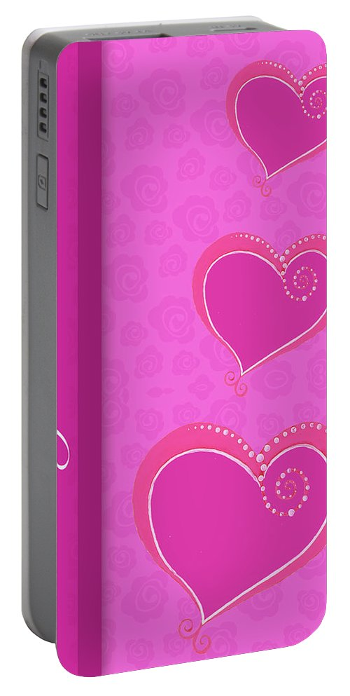 Sweet Portable Battery Charger featuring the mixed media Sweet Pink Valentines IIi by Andi Metz