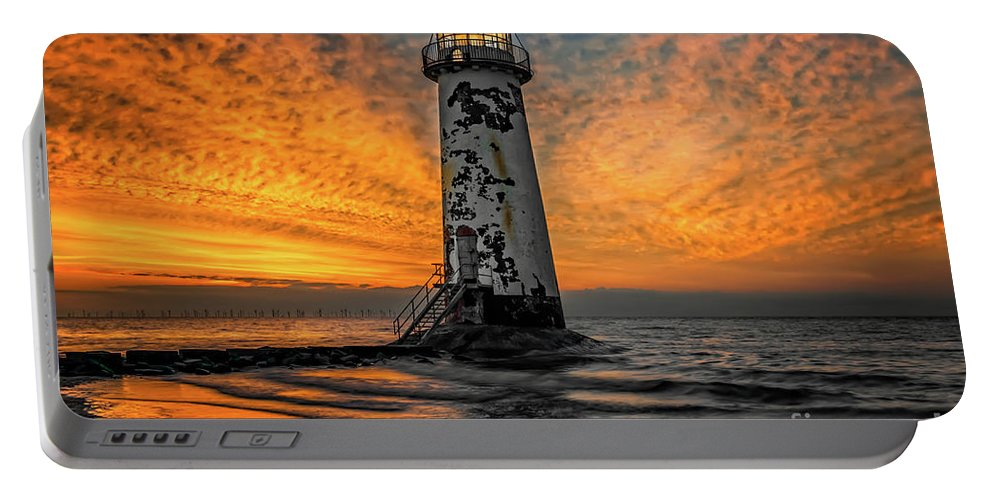 Point Of Ayr Portable Battery Charger featuring the photograph Talacre Beach Lighthouse Sunset by Adrian Evans