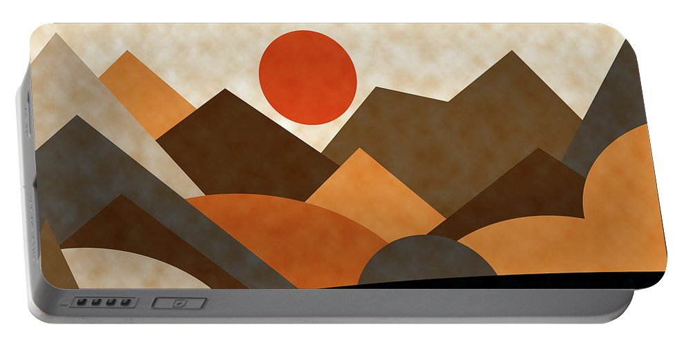 Ruth Palmer Portable Battery Charger featuring the digital art Tangerine Sun by Ruth Palmer