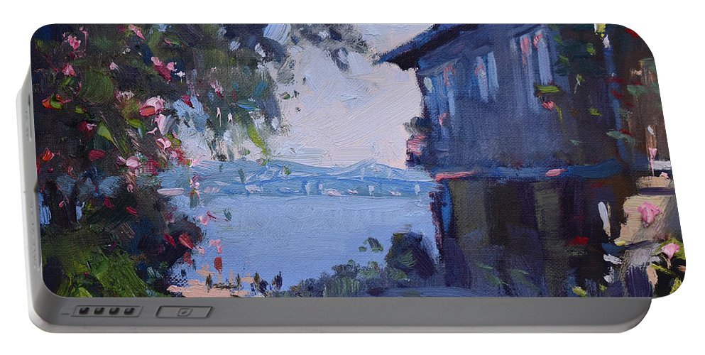 Tappan Zee Portable Battery Charger featuring the painting Tappan Zee Bridge by Ylli Haruni