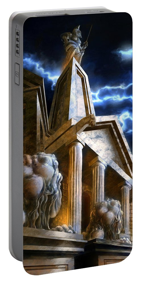 Hercules Portable Battery Charger featuring the mixed media Temple Of Hercules In Kassel by Curtiss Shaffer