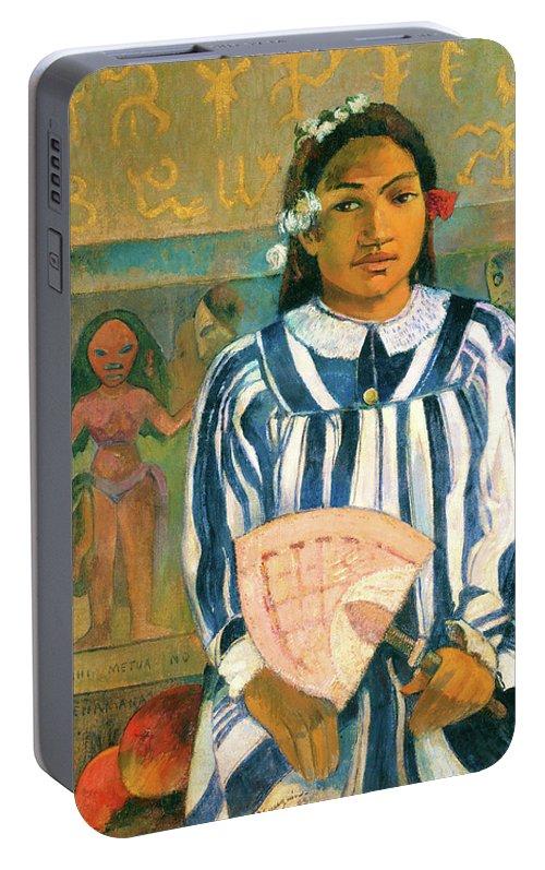 The Ancestors Of Tehamana Portable Battery Charger featuring the painting The Ancestors Of Tehamana - Digital Remastered Edition by Paul Gauguin