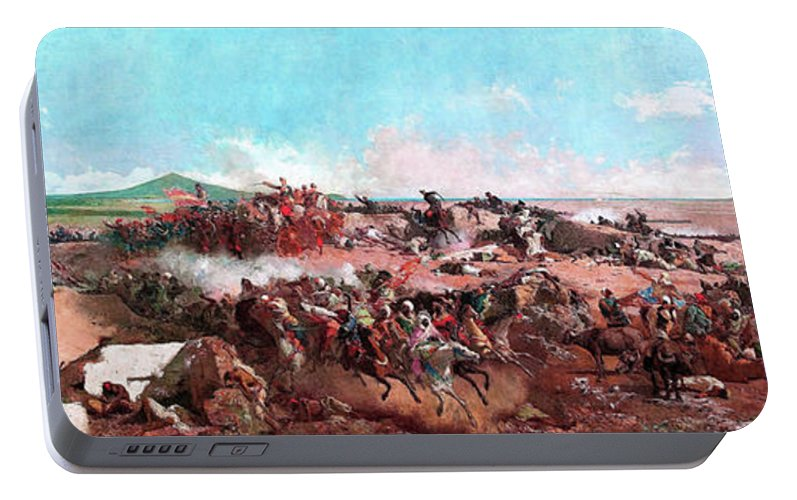 The Battle Of Tetouan Portable Battery Charger featuring the painting The Battle Of Tetouan - Digital Remastered Edition by Mariano Fortuny