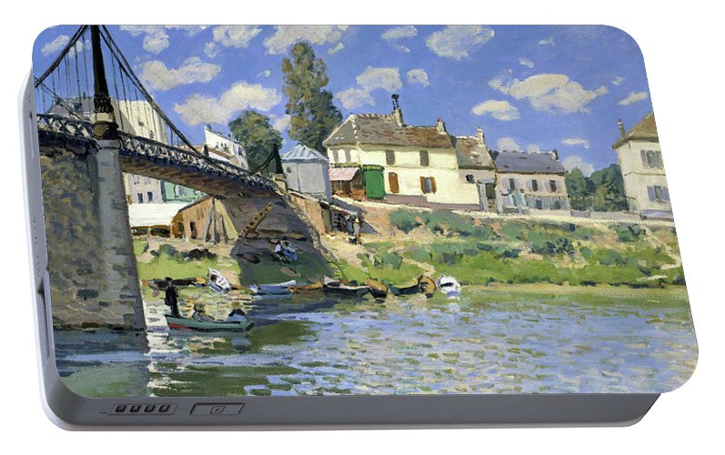 Alfred Sisley Portable Battery Charger featuring the painting The Bridge At Villeneuve-la-garenne - Digital Remastered Edition by Alfred Sisley