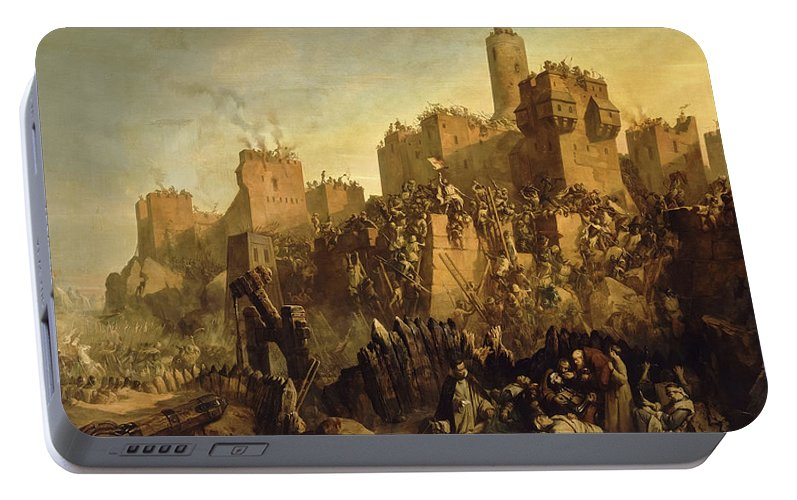 Jacques De Molay Portable Battery Charger featuring the painting The Capture Of Jerusalem By Jacques De Molay, Crusade by Claudius Jacquand