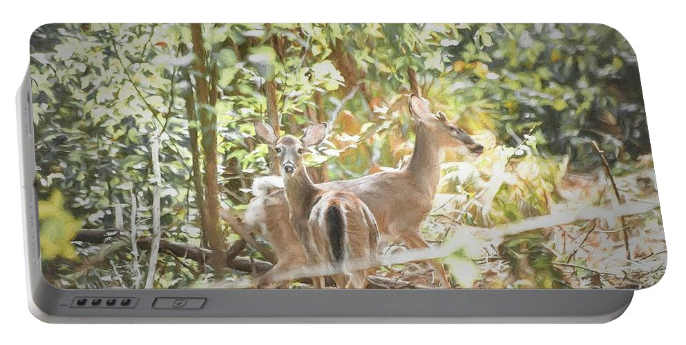 Fawn Portable Battery Charger featuring the digital art The Curious Fawn by Michael Campbell