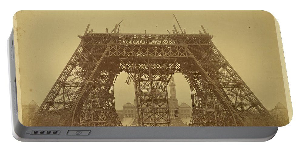 Louis-emile Durandelle Portable Battery Charger featuring the painting The Eiffel Tower - State Of The Construction by Louis-Emile Durandelle