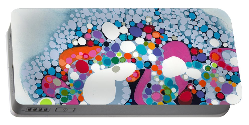 Abstract Portable Battery Charger featuring the painting The Fantasy Of Reality by Claire Desjardins