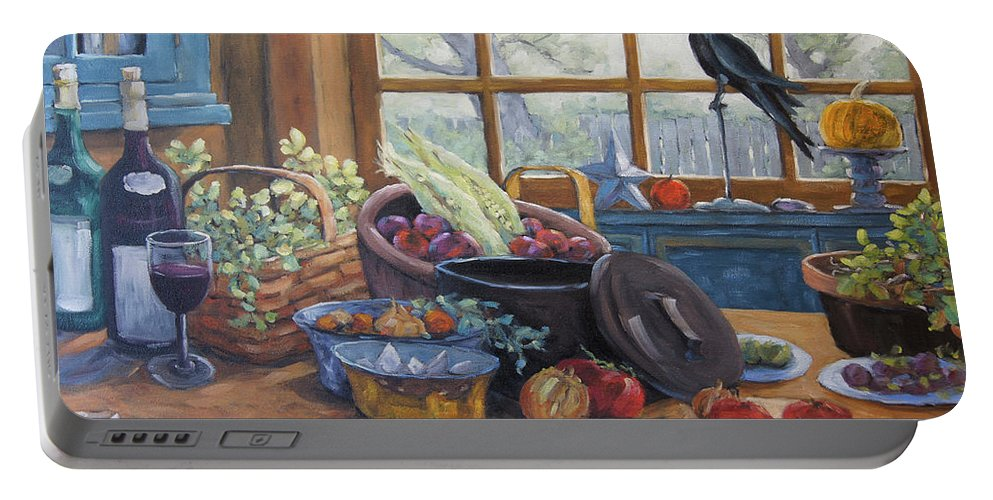 30x24x1.5 Portable Battery Charger featuring the painting The Good Harvest Country Kitchen By Richard Pranke by Richard T Pranke