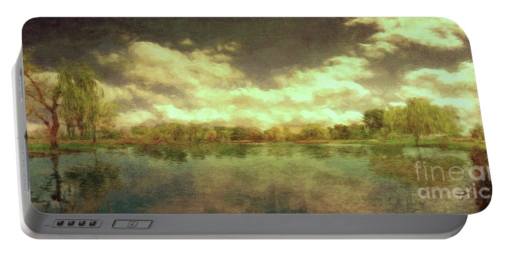 Scenic Portable Battery Charger featuring the photograph The Lake - Panorama by Leigh Kemp