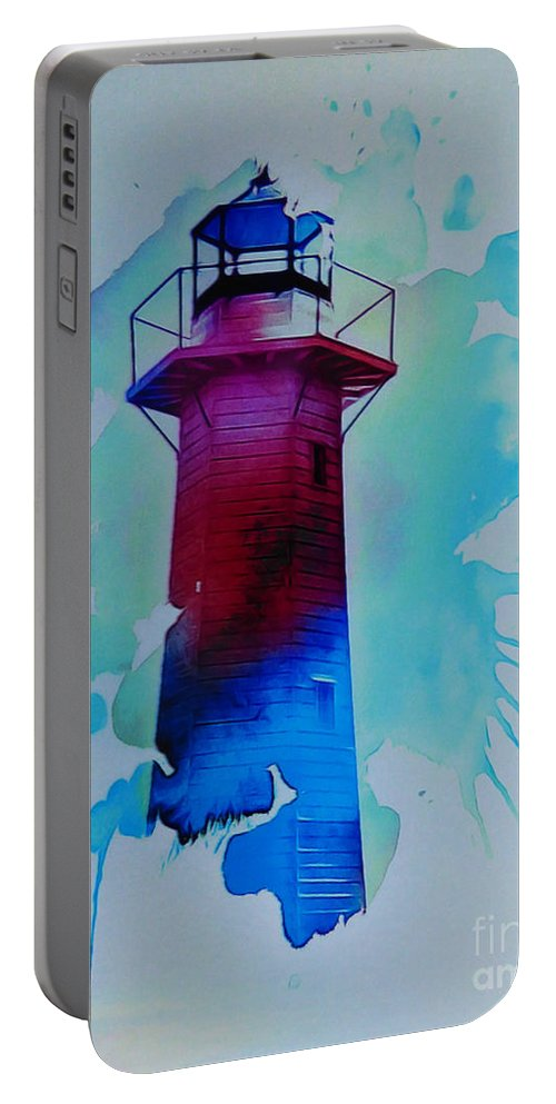 The Lighthouse. This Image Was Created By Adding A Digital Application To My Original Photo Resulting In A Contemporary Semi-abstract Finish. Portable Battery Charger featuring the digital art The Lighthouse by Trudee Hunter