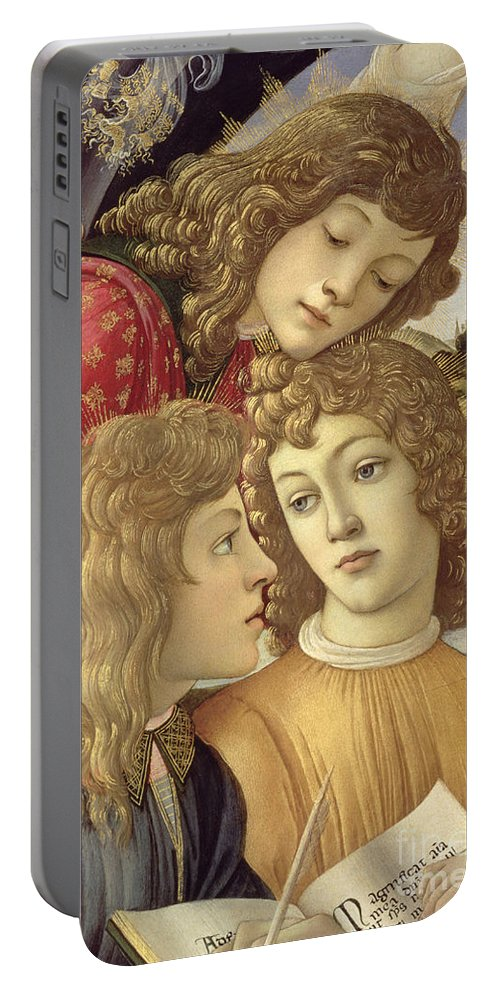 Sandro Botticelli Portable Battery Charger featuring the painting The Madonna Of The Magnificat, Detail Of Three Boys, 1482 by Sandro Botticelli