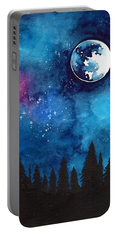 Moon Portable Battery Charger featuring the painting The Moon by ArtMarketJapan