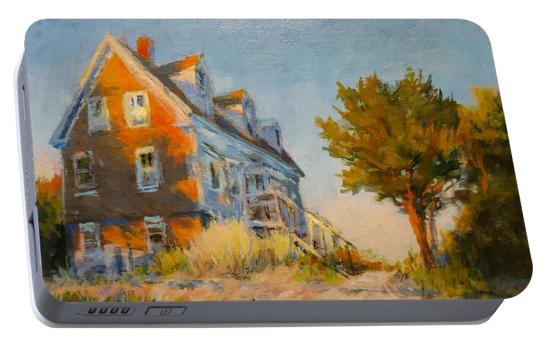 Cape Cod Portable Battery Charger featuring the painting The Old Silva Place No. 1 by Peter Salwen