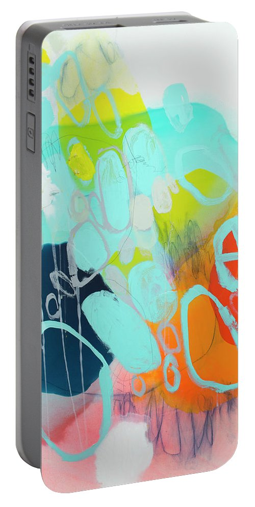 Abstract Portable Battery Charger featuring the painting The Right Thing by Claire Desjardins