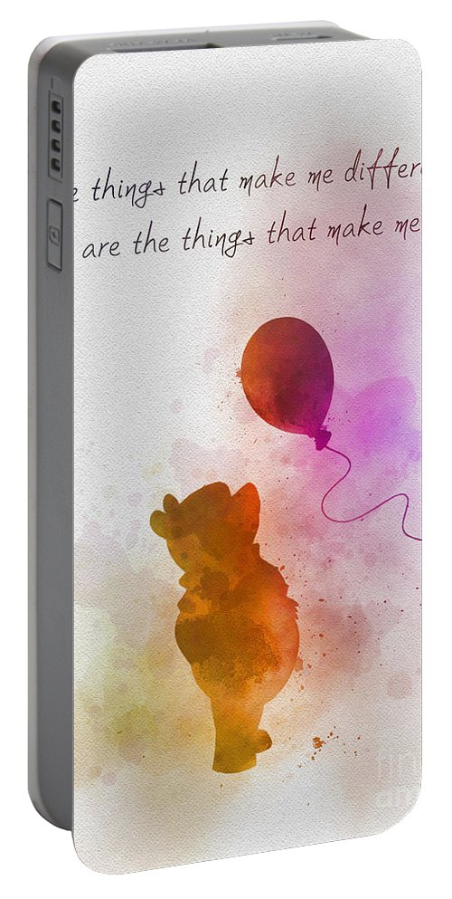 Winnie The Pooh Portable Battery Charger featuring the mixed media The things that make me different by My Inspiration