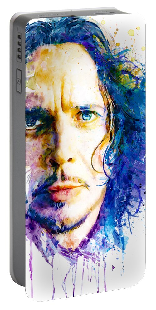 Grunge Portable Battery Charger featuring the painting The Voice Of Seattle by Marian Voicu