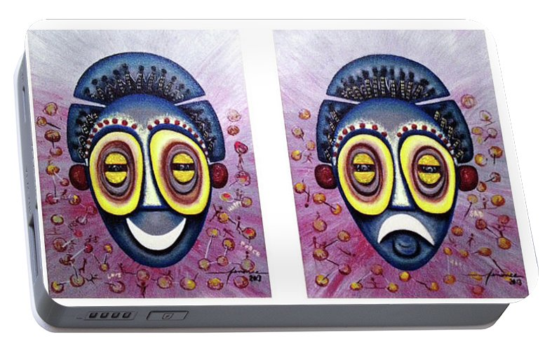 Portable Battery Charger featuring the painting Thearter Of Africa by Manonce Artist