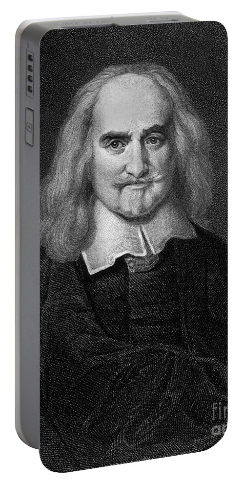 Historical Portable Battery Charger featuring the drawing Thomas Hobbes English Philosopher, Engraving by European School