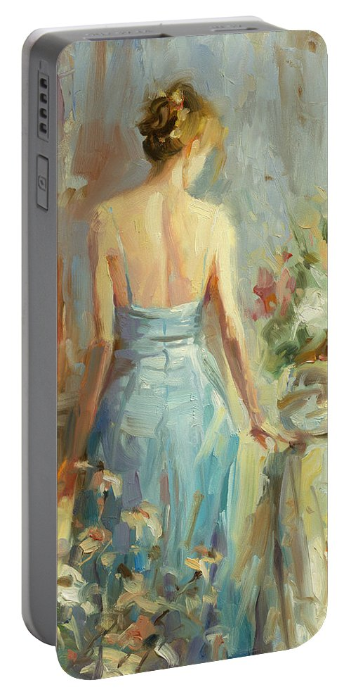Woman Portable Battery Charger featuring the painting Thoughtful by Steve Henderson