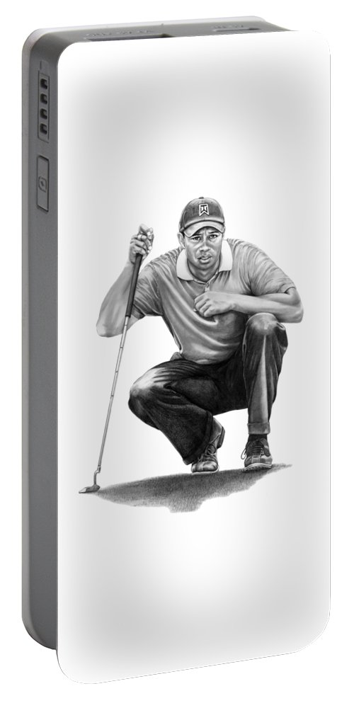 Pencil Portable Battery Charger featuring the drawing Tiger Woods Crouching Tiger by Murphy Elliott