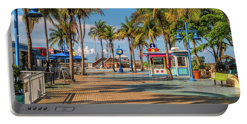 Florida Portable Battery Charger featuring the photograph Times Square In Fort Myers Beach Florida by Tom Mc Nemar