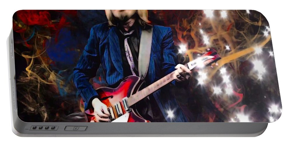 Tom Petty Portable Battery Charger featuring the digital art Tom Petty Portrait by Scott Wallace Digital Designs
