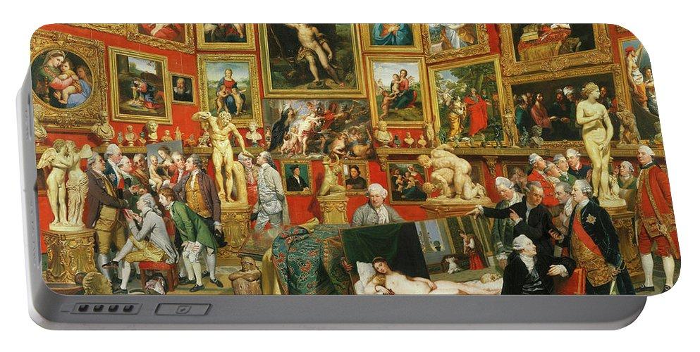 Johan Zoffany Portable Battery Charger featuring the painting Tribuna Of The Uffizi, 1777 by Johan Zoffany
