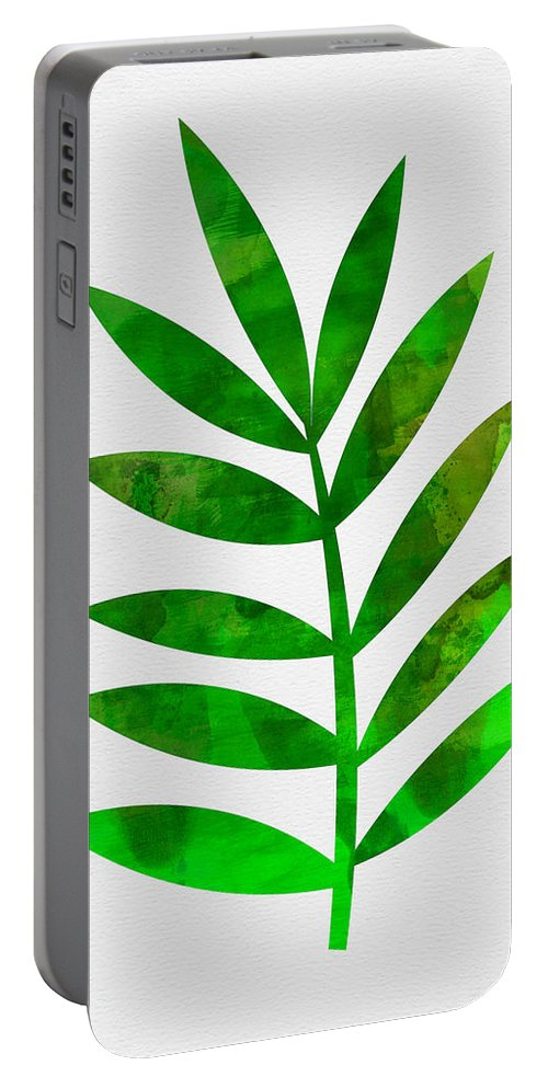 Tropical Leaf Portable Battery Charger featuring the mixed media Tropical Leaf 3 by Naxart Studio