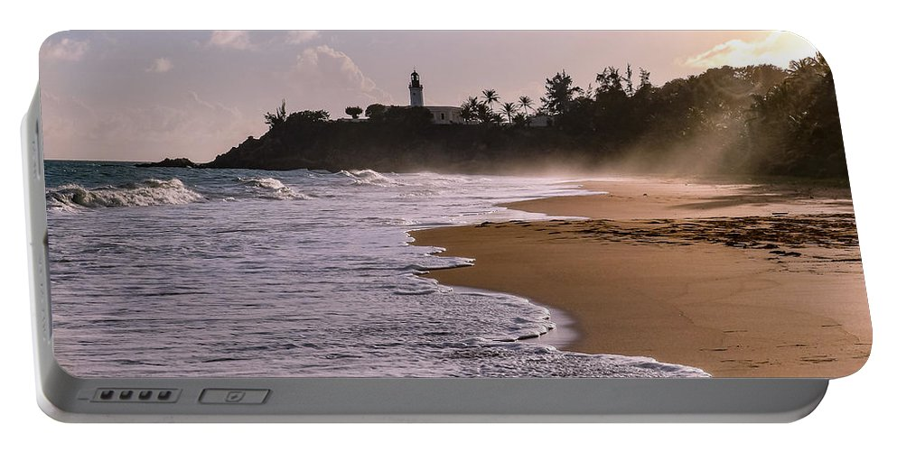Ocean Portable Battery Charger featuring the photograph Tuna Punta Lighthouse And Beach In Puerto Rico by G Matthew Laughton