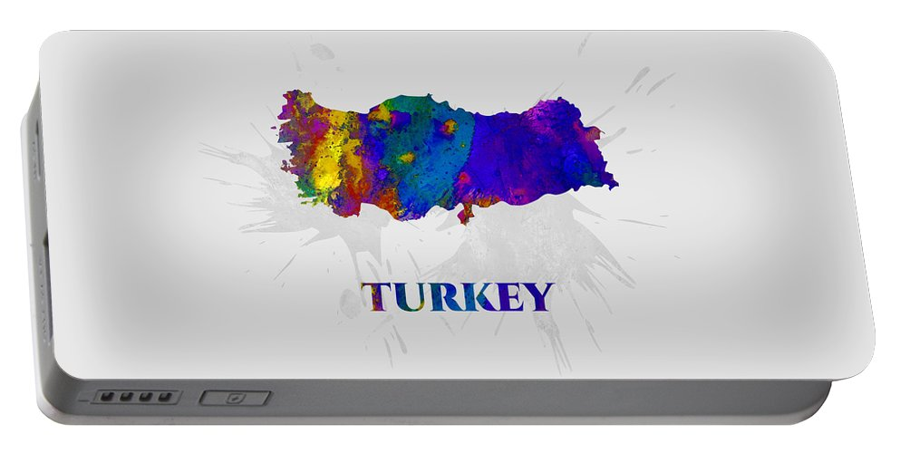 Turkey Portable Battery Charger featuring the mixed media Turkey, Map, Artist Singh by Artist Singh MAPS