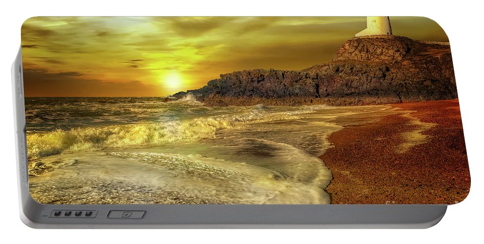 Twr Mawr Lighthouse Portable Battery Charger featuring the photograph Twr Mawr Lighthouse Sunset by Adrian Evans
