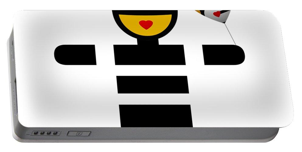 Ubabe Love Balloon Portable Battery Charger featuring the digital art uBABE Love Balloon by Charles Stuart