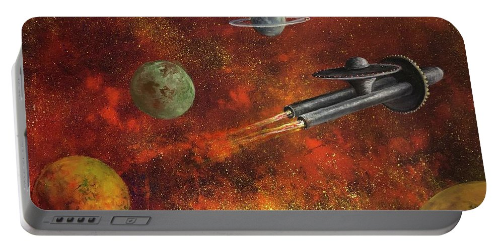 Space Portable Battery Charger featuring the painting Unidentified Flying Object by Randy Burns
