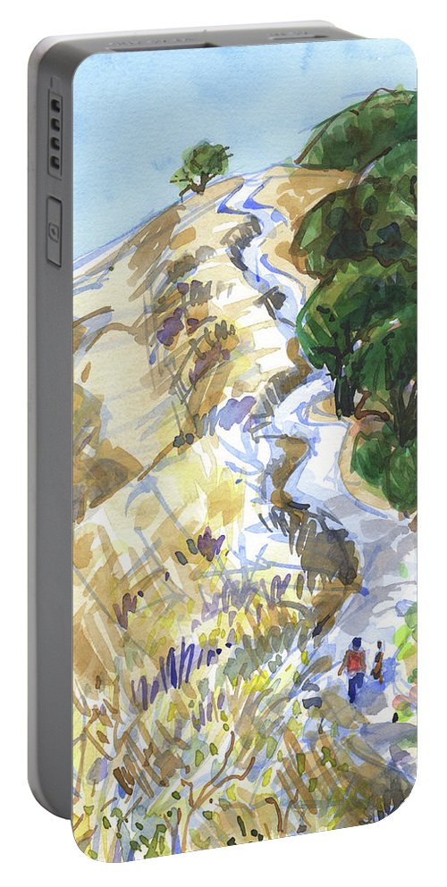 California Portable Battery Charger featuring the painting Up On Shell Ridge by Judith Kunzle