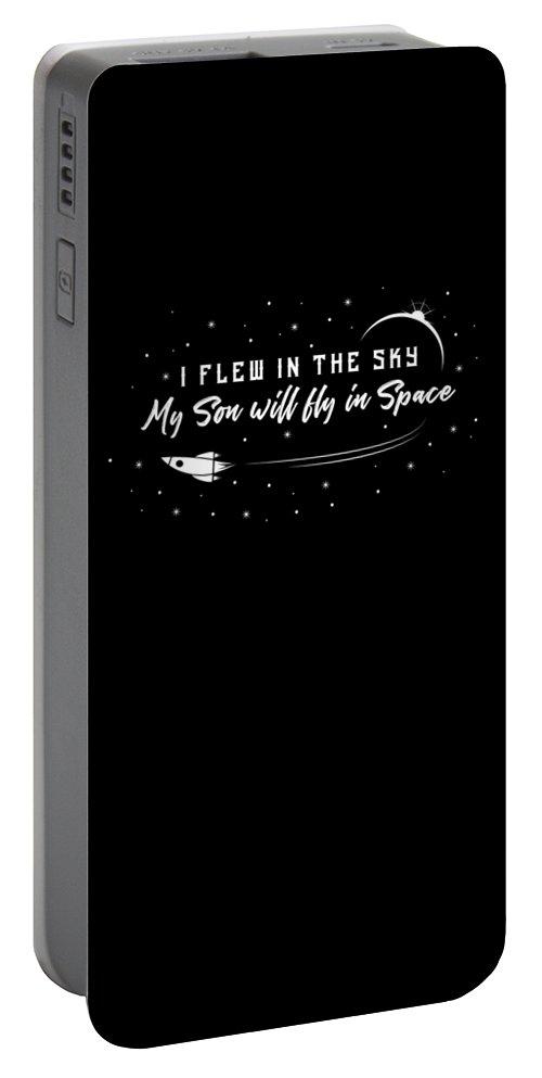 Space-force Portable Battery Charger featuring the digital art Us Space Force For Veteran Pilot Mom Dad Parents Dark by Nikita Goel