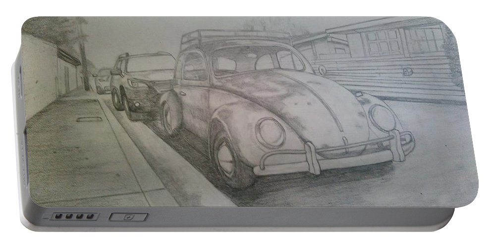 Drawing Of Vw Portable Battery Charger featuring the drawing Vdub by Andrew Johnson