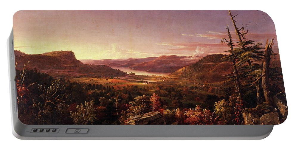 View Of Greenwood Lake Portable Battery Charger featuring the painting View Of Greenwood Lake, New Jersey by Jasper Francis Cropsey