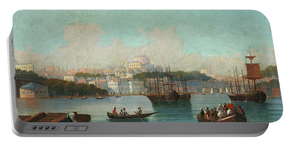 View Of Istanbul Portable Battery Charger featuring the painting View Of Istanbul - 1 by 19th Century