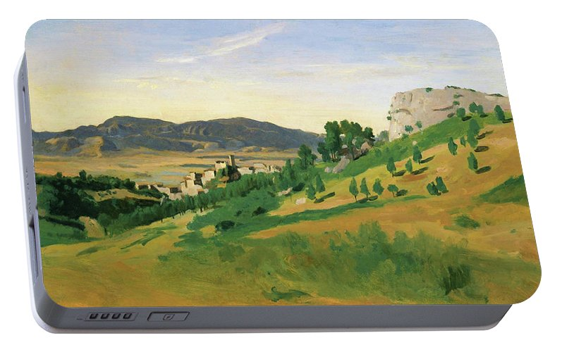 View Of Olevano Portable Battery Charger featuring the painting View Of Olevano - Digital Remastered Edition by Jean-Baptiste Camille Corot