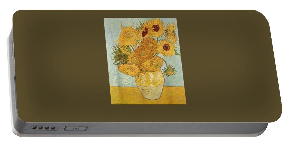 girls' Novelty T-shirts Portable Battery Charger featuring the digital art Vincent Van Gogh - Sunflowers - T Shirt Womens Mens Shirt by Do David