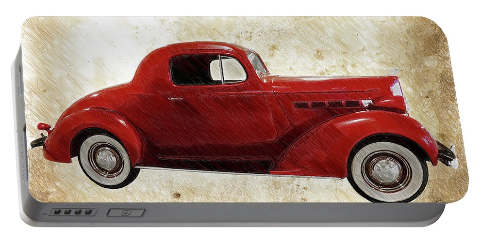 Auto Portable Battery Charger featuring the drawing Vintage 1937 Packard 3 Window Business Coupe - Dwp2477747 by Dean Wittle