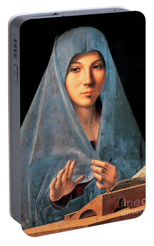 Madonna Portable Battery Charger featuring the painting Virgin Of Annunciation Painting By Antonello Di Antonio Dit Antonello Da Messina by Antonello da Messina