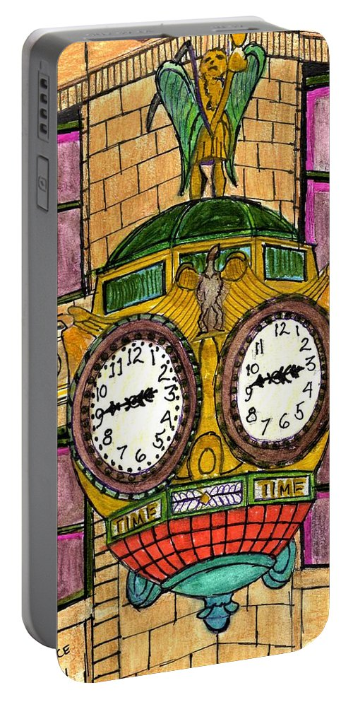 Paul Meinerth Portable Battery Charger featuring the drawing Wacker Place Chicago by Paul Meinerth