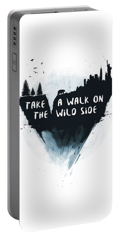 Bear Portable Battery Charger featuring the mixed media Walk On The Wild Side by Balazs Solti