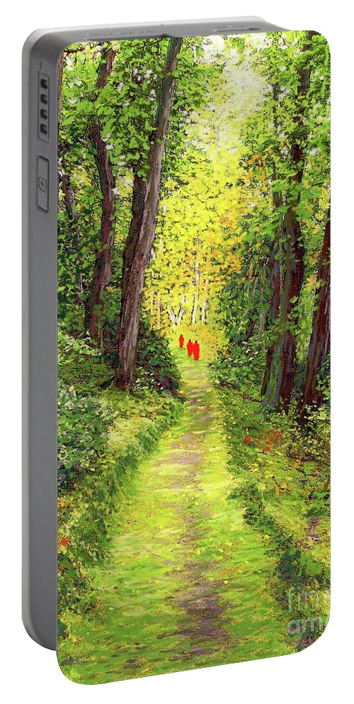 Meditation Portable Battery Charger featuring the painting Walking Meditation by Jane Small