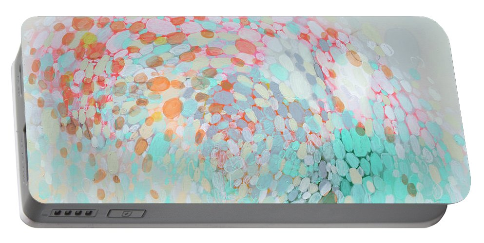 Abstract Portable Battery Charger featuring the painting Want To Go by Claire Desjardins
