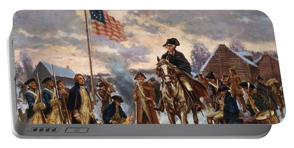 George Washington Portable Battery Charger featuring the painting Washington At Valley Forge by War Is Hell Store