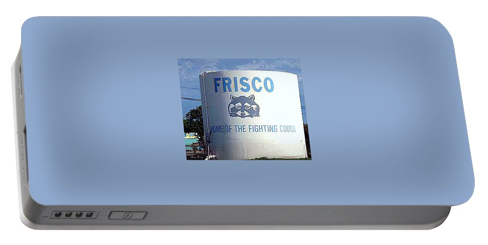 Frisco Portable Battery Charger featuring the photograph Water Tank With The Coons by Amy Hosp